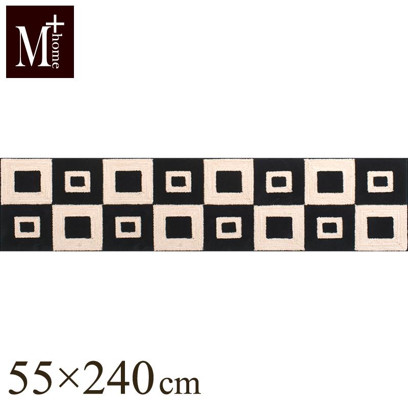 【M+HOME】フランクリン インテリアマット 55×240cm ベージュ(キッチンマット/ワイド/日本製/北欧風/ロング/モダン/滑り止め加工/アクセントマット)【※ラッピング不可商品】 ´