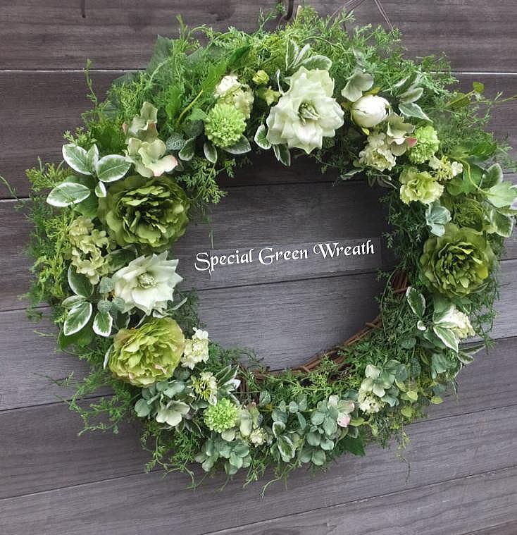 大きさ45cm スペシャル・グリーンスリース送料無料・グリーンのリース・ウェルカムボード 造花・外に飾るリース・玄関リース・クリスマス・リース・大きなリース・枯れないリース・外玄関のリース