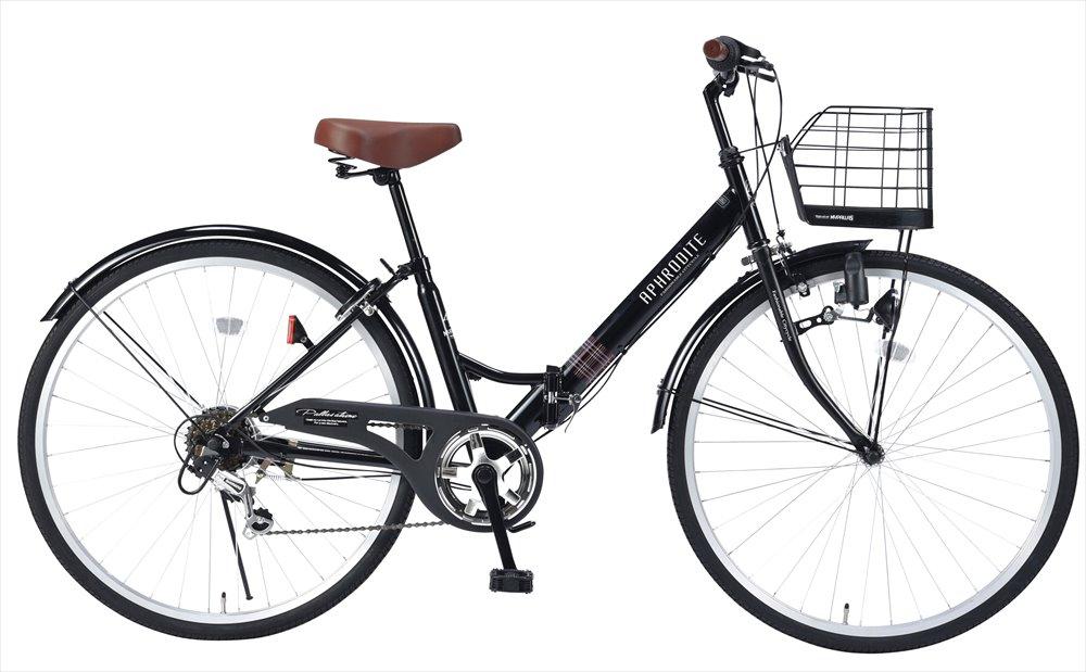パンクしにくい自転車 送料無料 マイパラス M-507-BK 肉厚チューブ仕様 スーパーSALE セール期間限定 26インチ 別倉庫からの配送 折り畳み自転車 6段変速付き シティサイクル ブラック MyPallas
