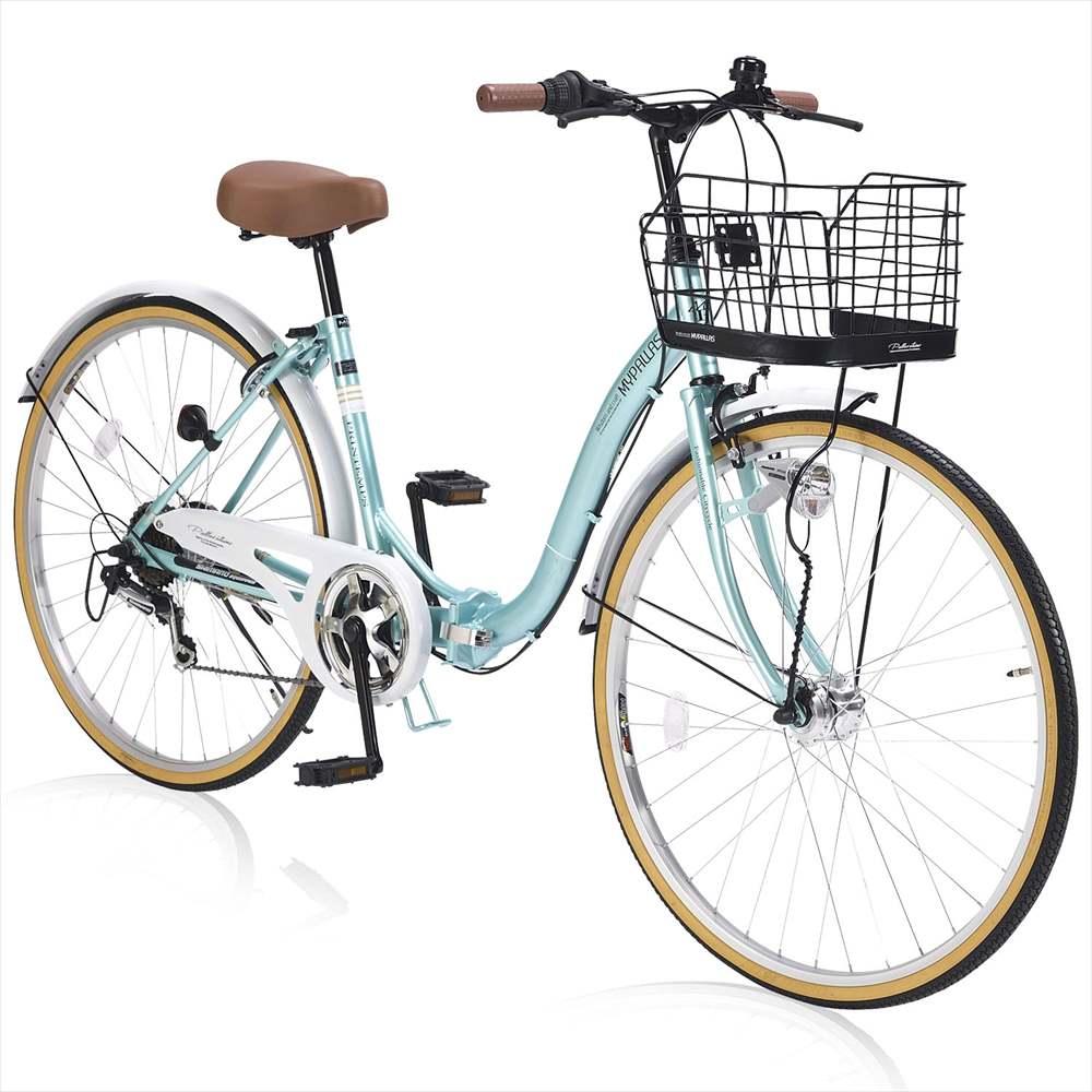パンクしにくい自転車 送料無料 マイパラス m-509-MT 肉厚チューブ仕様 26インチ 折り畳み自転車 MyPallas 6段変速付き 新作通販 クールミント 当店は最高な サービスを提供します シティサイクル