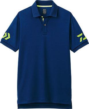 柔らかな肌触りで 吸水速乾 高級 価格 UVカット機能を有し真夏でも爽快に着用可能 DAIWA XL DE-7906 半袖ポロシャツ ネイビー×サルファースプリング