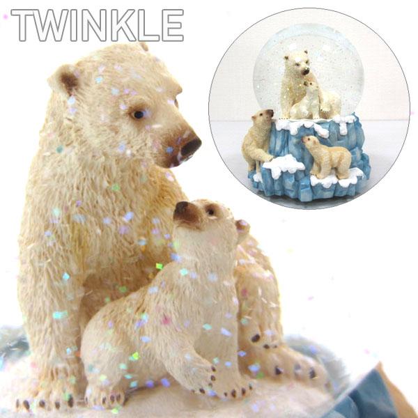 【送料無料】【スノードーム】[1301035]白クマ天国 TWINKLE トゥインクル白熊親子のスノードーム離島・沖縄・海外は発送不可※在庫限り※