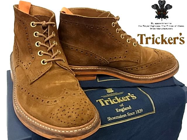 【中古】◇美品◇トリッカーズ◇ウイングチップ レザーカントリーブーツ Tricker's 英国製 クロス 保存袋 箱付き ブラウン