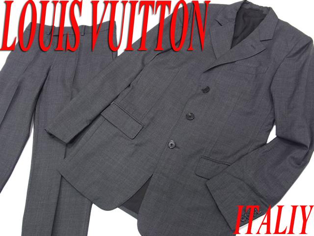 【中古】○美品○ルイヴィトン ウールスーツ シングルスーツ メンズ セットアップ 上下セット LOUIS VUITTON イタリア製 正規品 スーパー130'S