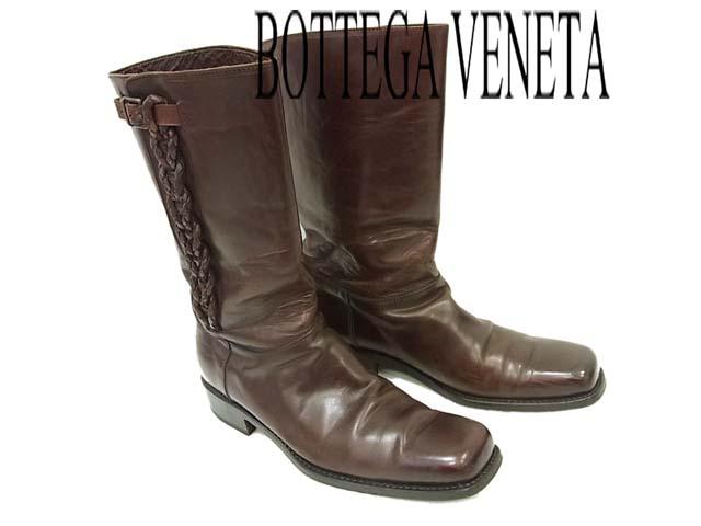 【中古】●BOTTEGA VENETA ボッテガヴェネタ イントレチャートデザインアンティークレザーロングブーツ イタリア製 42.5