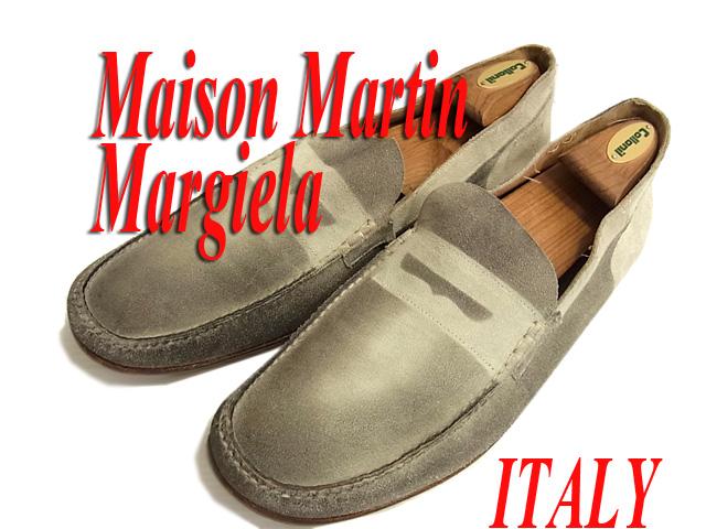 【中古】○イタリア製○マルタンマルジェラ レザーシューズ ローファー 革靴 メンズ Martin Margiela 22 だまし絵風 ヴィンテージ加工 大きいサイズ