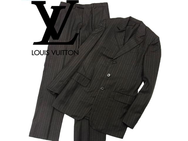 【中古】◇良品◇ルイヴィトン◇高級シングルスーツ 上下セット ブラウン ストライプ 美ライン イタリア製 LOUIS VUITTON(size:44