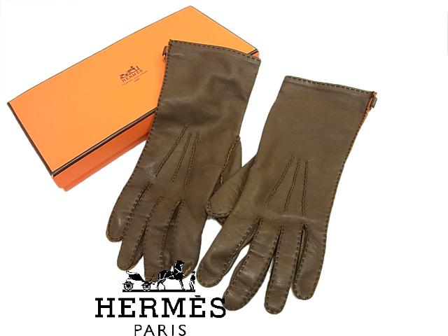 【中古】良品○高級○エルメス セミロング レザーグローブ 手袋 HERMES ラムスキン 羊革 レディース サイズ7 ダークブラウン フランス製