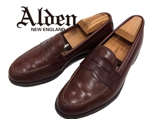 【中古】○オールデン Alden レザーコインローファー レザーシューズ 革靴 USA製 正規品 本革 高級 メンズ ペニーローファー 定番人気