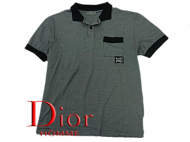 【中古】◇エディー期◇ディオールオム◇ポロシャツ 半袖 DiorHOMME 刺繍 ブラックボーダー柄 人気モデル イタリア製