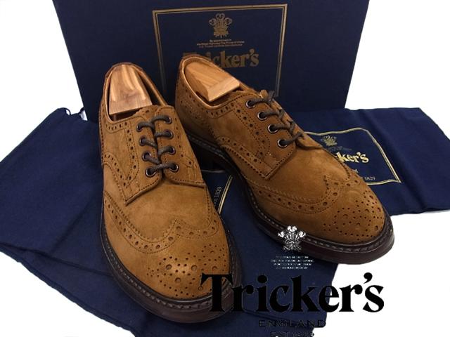 【中古】○美品○トリッカーズ Tricker's ウィングチップ レザーシューズ 革靴 8 正規品 カントリー バートン ブラウン メンズ M5633 イギリス製
