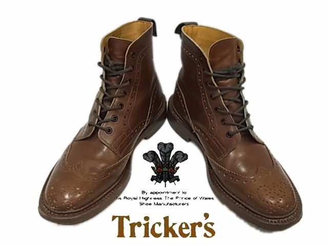 【中古】◇正規品◇トリッカーズ◇ウイングチップ メダリオン レザーシューズ Tricker's イングランド製 人気モデル