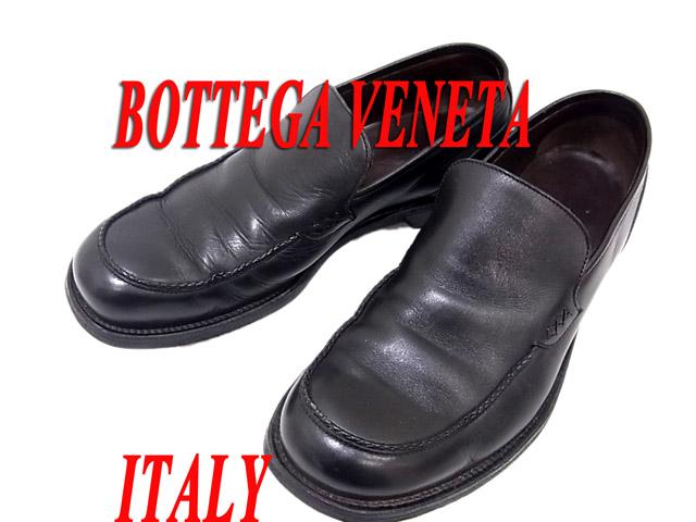 【中古】○ボッテガヴェネタ レザーシューズ レザースリッポン ブラック 黒色 イタリア製 正規品 メンズ 革靴 BOTTEGA VENETA リアルレザー 本革