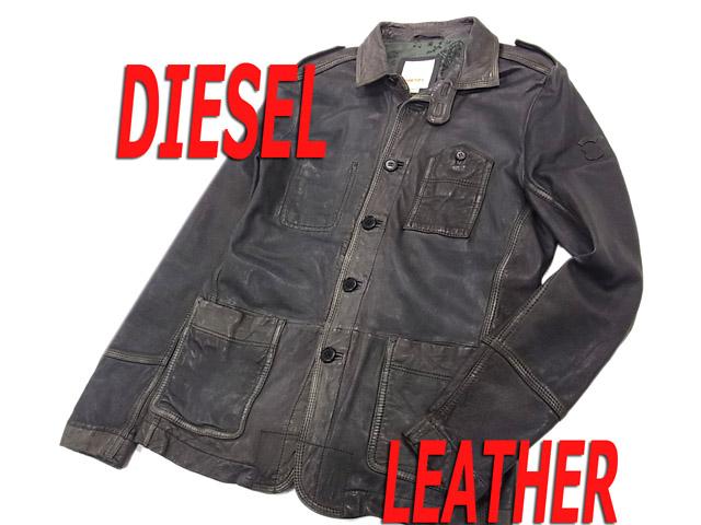 【中古】○ディーゼル ラムレザージャケット レザーデザインシャツジャケット ブルゾン ヴィンテージ加工 DIESEL メンズ 羊革 正規品 ブラック 黒色