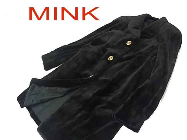 【中古】◇良品 高級毛皮◇シェアードミンク セミロングコート 美シルエット 毛艶 毛並 良好 飾りボタン  レディース フリーサイズ