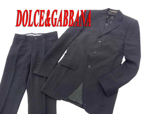 【中古】○美品 ドルチェ&ガッバーナ シルク混 シングルスーツ メンズ ブラック 黒色 細身 美ライン 正規品 ドルガバ DOLCE&GABBANA イタリア製