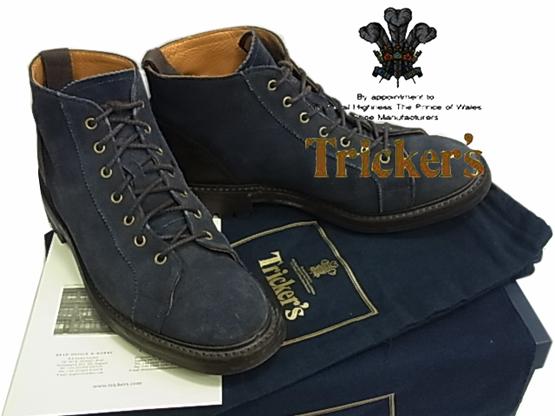【中古】◇◇トリッカーズ◇レザーモンキーブーツ ネイビー ワークブーツ Tricker's 英国製 保存袋 クロス 箱付 人気モデル 紳士靴