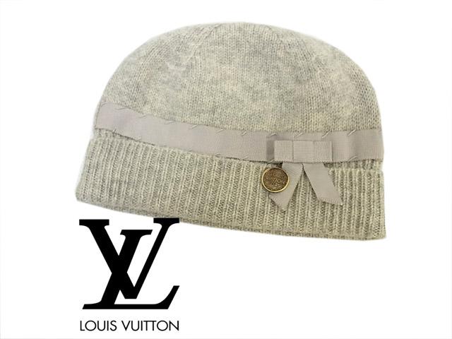 【中古】▼ルイ・ヴィトン LOUIS VUITTON リボン ネームチャーム付 ニット帽子