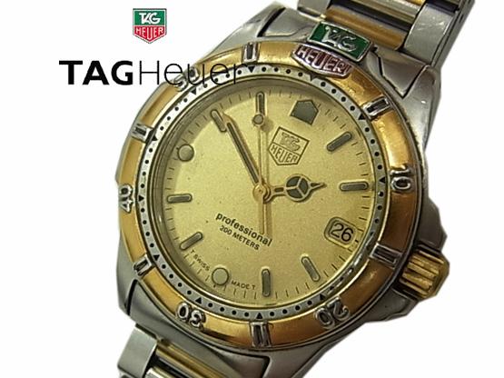 【中古】◇電池交換済 スイス製◇タグホイヤー◇プロフェッショナル メンズ 腕時計 995.413A コンビベルト TAG HEUER 人気モデル