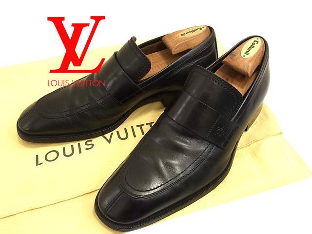 【中古】○ルイヴィトン レザーシューズ ドレスシューズ 革靴 レザーローファー メンズ LOUIS VUITTON 正規品 ブラック 黒 保管袋付き