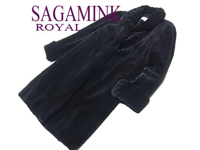 【中古】◇美品◇サガロイヤル シェアードミンクコート セミロング 金ラベル 最高級毛皮 パープル レディース SAGA ROYAL