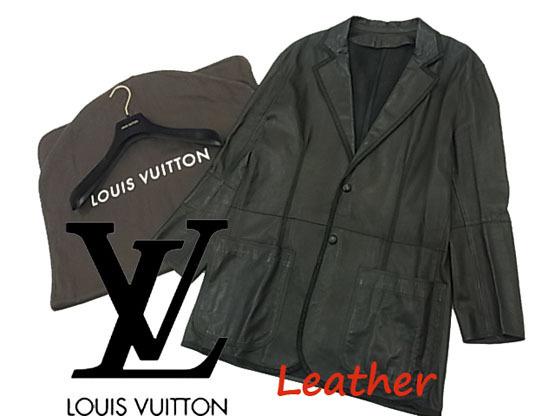 【中古】◇ロゴ刻印ハンガー付◇ルイヴィトン◇ラムレザージャケット  カバー付き フランス製 最高級 LOUIS VUITTON