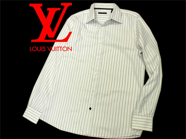 【中古】◇美品◇ルイヴィトン◇ドレスシャツ ワイシャツ 長袖シャツ ホワイト/ストライプ LOUIS VUITTON イタリア製 正規品