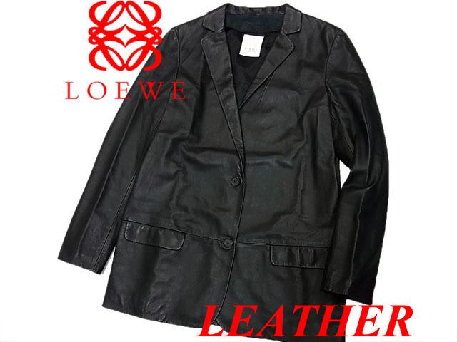 【中古】◇ロエベ LOEWE◇レザージャケット ショートコート ラムレザー ブラック 人気モデル レディース