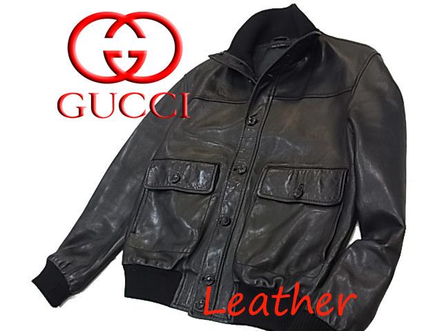 【中古】◇本革◇グッチ◇レザージップジャケット リブニット ブラック メンズ アウター 人気モデル イタリア製 激シブ GUCCI