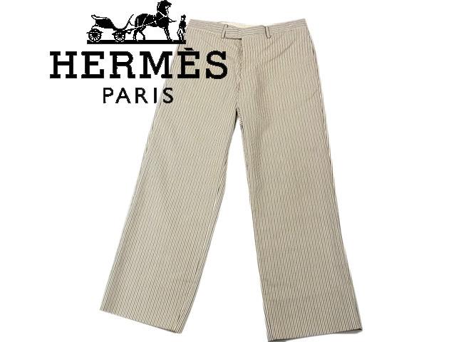 【中古】○エルメス HERMES 良品 ロングパンツ スラックス イタリア製 メンズ ストライプ柄 正規品 リネン混