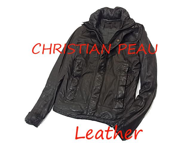 【中古】◇クリスチャンポー◇レザーパーカージャケット 黒 ブラック 中綿入り メンズアウター 激シブ 人気モデル CHRISTIAN PEAU