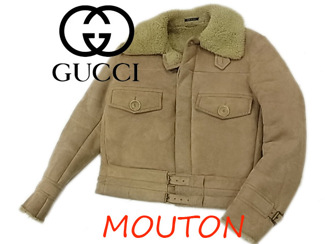 【中古】◇最高級◇グッチ◇ムートンレザージャケット シープスキン 人気モデル メンズアウター 羊毛皮 イタリア製 GUCCI