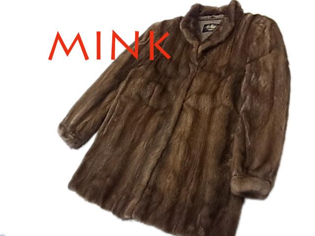 【中古】◇美品 高級本毛皮◇クロスミンクコート ブラウン MINK 高級 毛艶 毛並 皮質 良好 毛皮コート レディース
