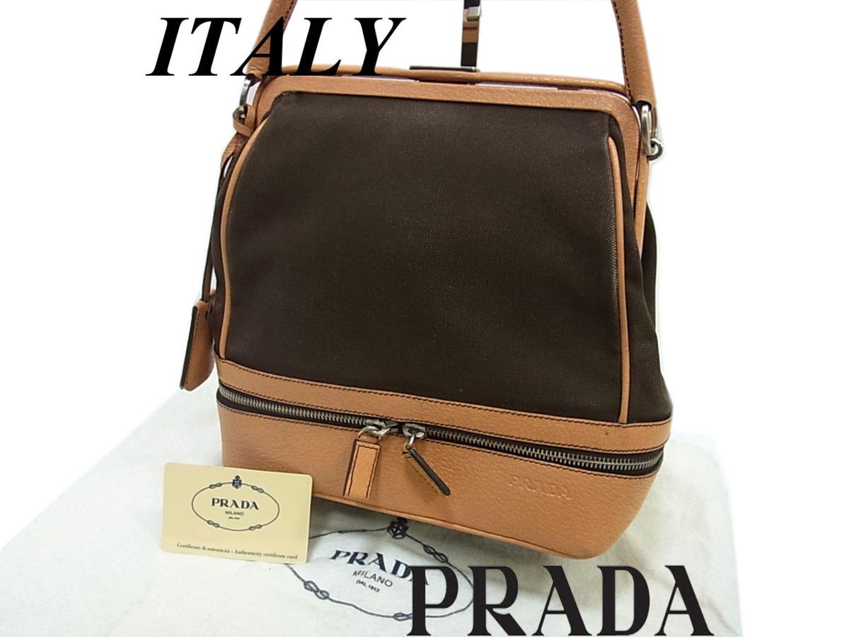 【中古】◎プラダ ハンドバッグ レザー切替 本革 イタリア製 PRADA レディース 鞄 保存袋付き ボーリングバッグ