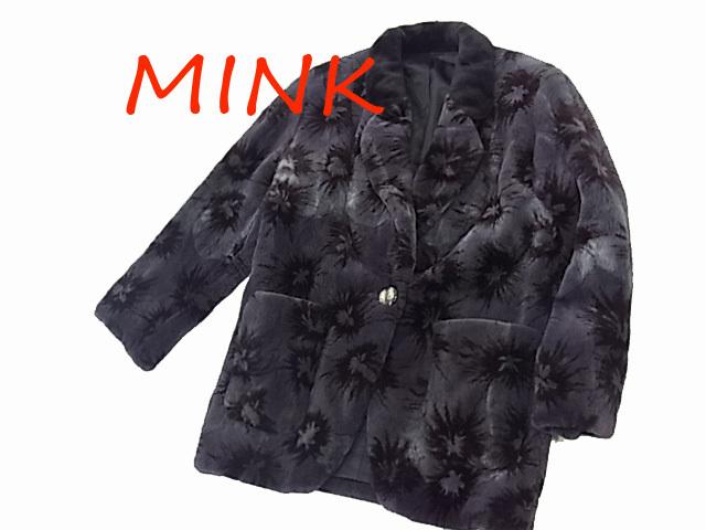 【中古】◇美品 高級本毛皮◇シェアードミンクコート 毛艶最高 レディース  総柄 人気モデル MINK