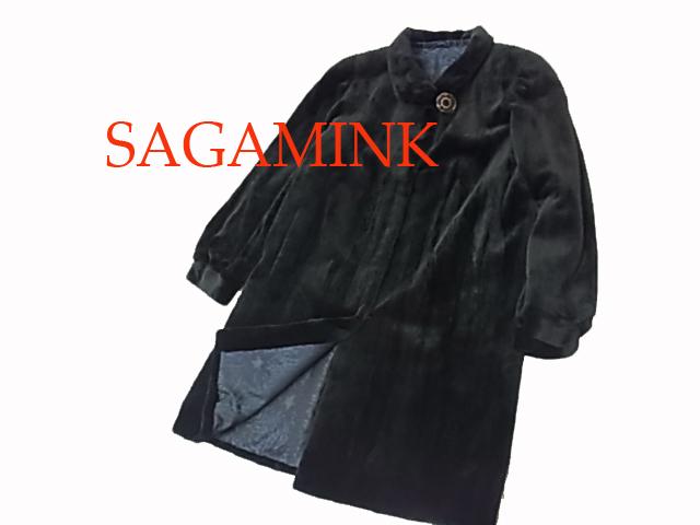 【中古】◇高級毛皮 美品 レアカラー◇サガミンク シェアードミンク セミロングコート 毛艶 毛並 皮質 良好 SAGA MINK レディース