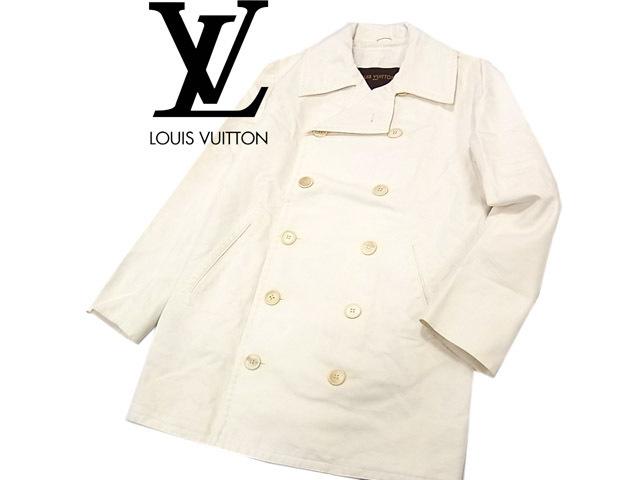 【中古】○ルイヴィトン スプリングコート トレンチコート Pコート メンズ 春物 LOUIS VUITTON イタリア製 コットン100% 正規品 美ライン