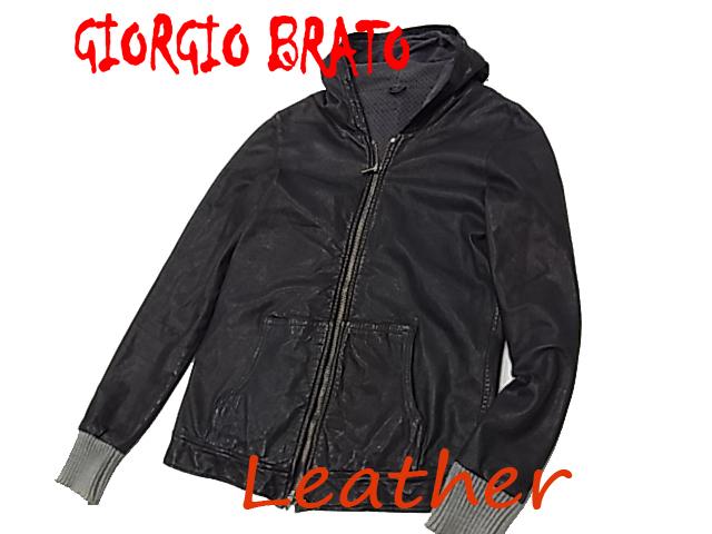 【中古】◇仔羊革◇ジョルジオブラット◇レザーパーカージャケット ヴィンテージ加工 最高峰 リブニット イタリア製 GIORGIO BRATO