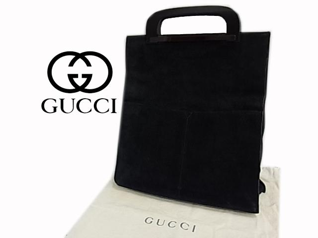 【中古】◇グッチ◇レザー ハンドバッグ クラッチバッグ ブラック イタリア製 レディース 保存袋付き 人気モデル GUCCI