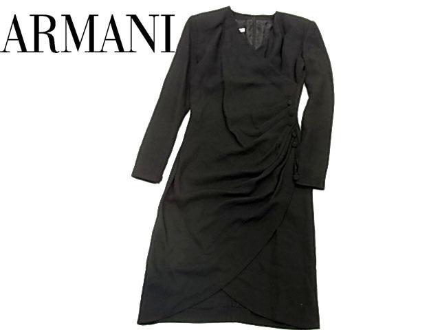 【中古】■アルマーニ ドレス フォーマルワンピース 変形デザイン カシュクール ドレープ イタリア EMPORIO ARMANI レディース ブラック 美ライン