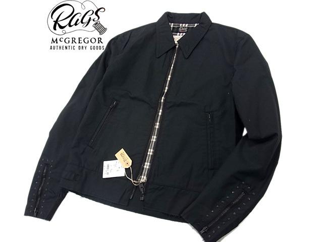 【未使用】○タグ付き ラグスマックレガー ライダースジャケット スタッズ ブラック 黒色 春物 メンズ Rags McGREGOR 未使用 コットン100%