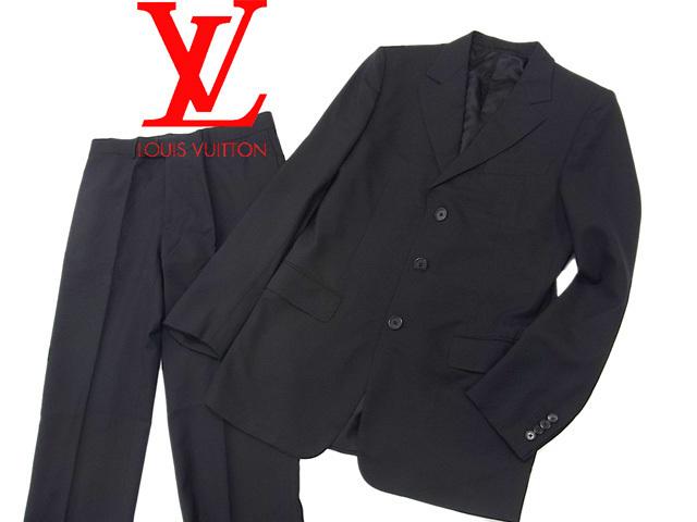 【中古】○美品 ルイヴィトン シングルスーツ メンズ セットアップ 上下セット セットアップ LOUIS ブラック VUITTON VUITTON イタリア製 正規品 ブラック 黒色, トオノシ:966e1b35 --- sodern.se