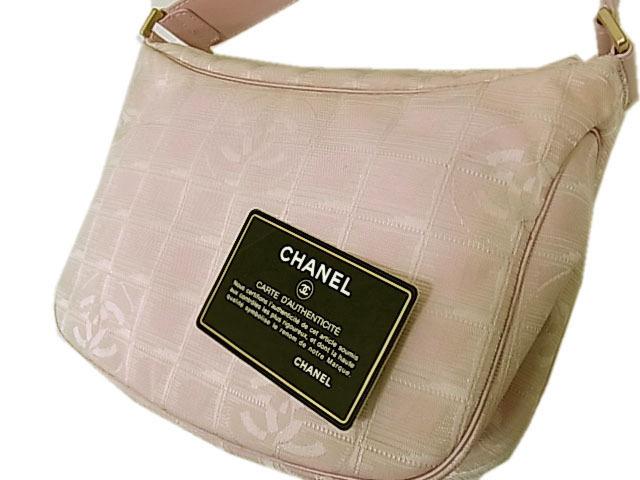 【中古】◇シャネル◇ニュートラベル ライン ワンショルダーバッグ ハンドバッグ ピンク ジャガード イタリア製 Gカード/シール付 CHANEL