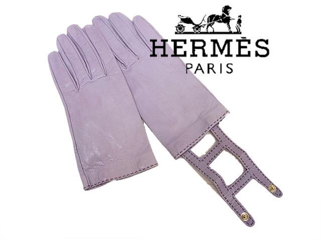 【中古】◇エルメス  HERMES◇レザー手袋  レザーグローブ Chevreau kid leather H レディース フランス製