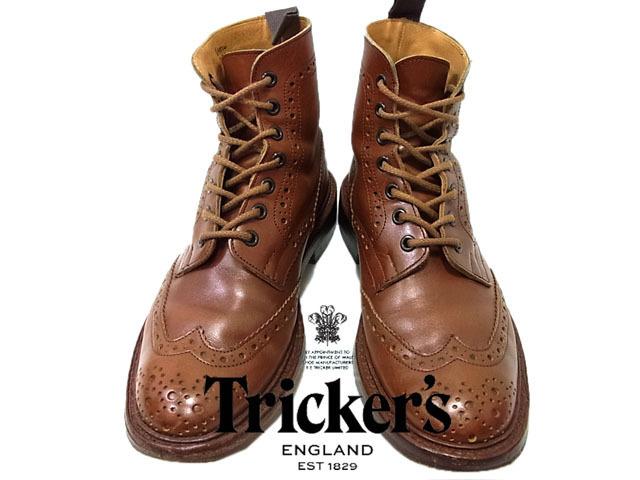 【中古】◇英国製◇トリッカーズ Tricker's◇レザーカントリーブーツ  ウイングチップ  ブラウン  茶 メンズ ブーツ  ワークブーツ