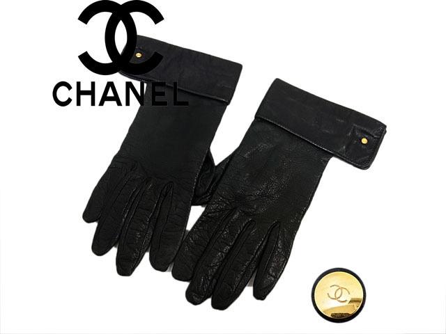 【中古】◇高級◇シャネル CHANEL◇レザーグロープ 手袋 ゴールドココマーク カウスデザイン フランス製 レディース ブラック
