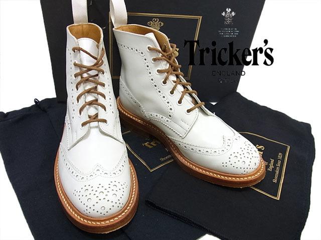 【中古】◇美品◇トリッカーズ◇ウイングチップ メダリオン レザーブーツ Tricker's 英国製 クロス 保存袋 箱付き ホワイト