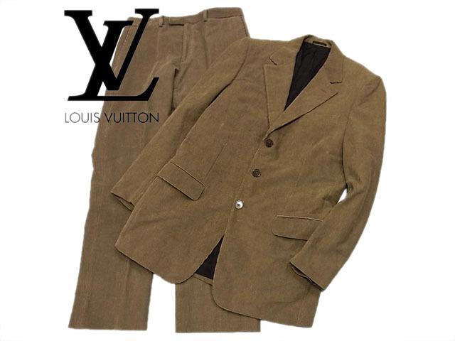 【中古】◇正規品◇ルイヴィトン◇高級シングルスーツ 美ライン コーデュロイ素材 冬物 LOUIS VUITTON イタリア製 人気モデル