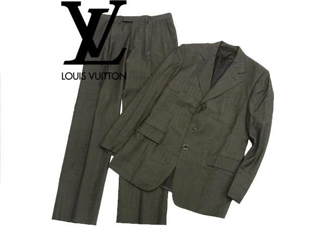 【中古】美品○ルイヴィトン LV イタリア製 ウール シングルスーツ グレー
