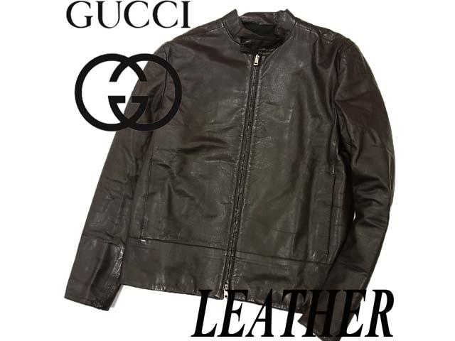 【中古】美品 イタリア製◇グッチ GUCCI◇レザーライダースジャケット
